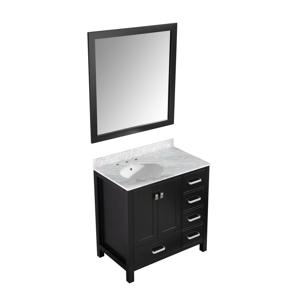 ANZZI Chateau 36 in. W x 22 in. D Bath Vanity in Black with Marble Vanity Top in Carrara White with White Basin and Mirror