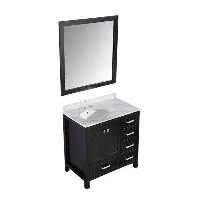 Chateau 36 in. W x 22 in. D Bath Vanity in Black with Marble Vanity Top in Carrara White with White Basin and Mirror