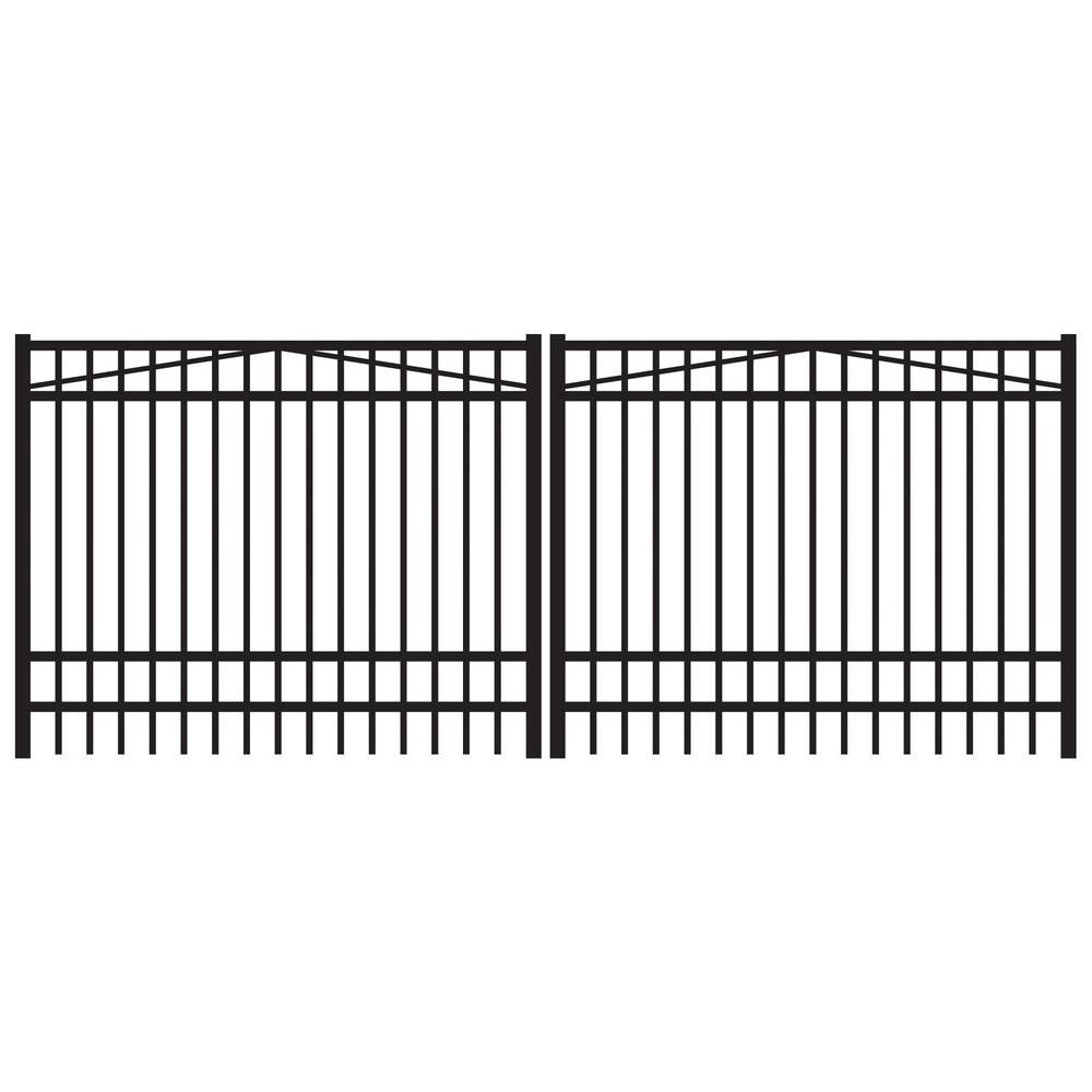 Jefferson 12 ft. W x 6 ft. H Black Aluminum 4-Rail