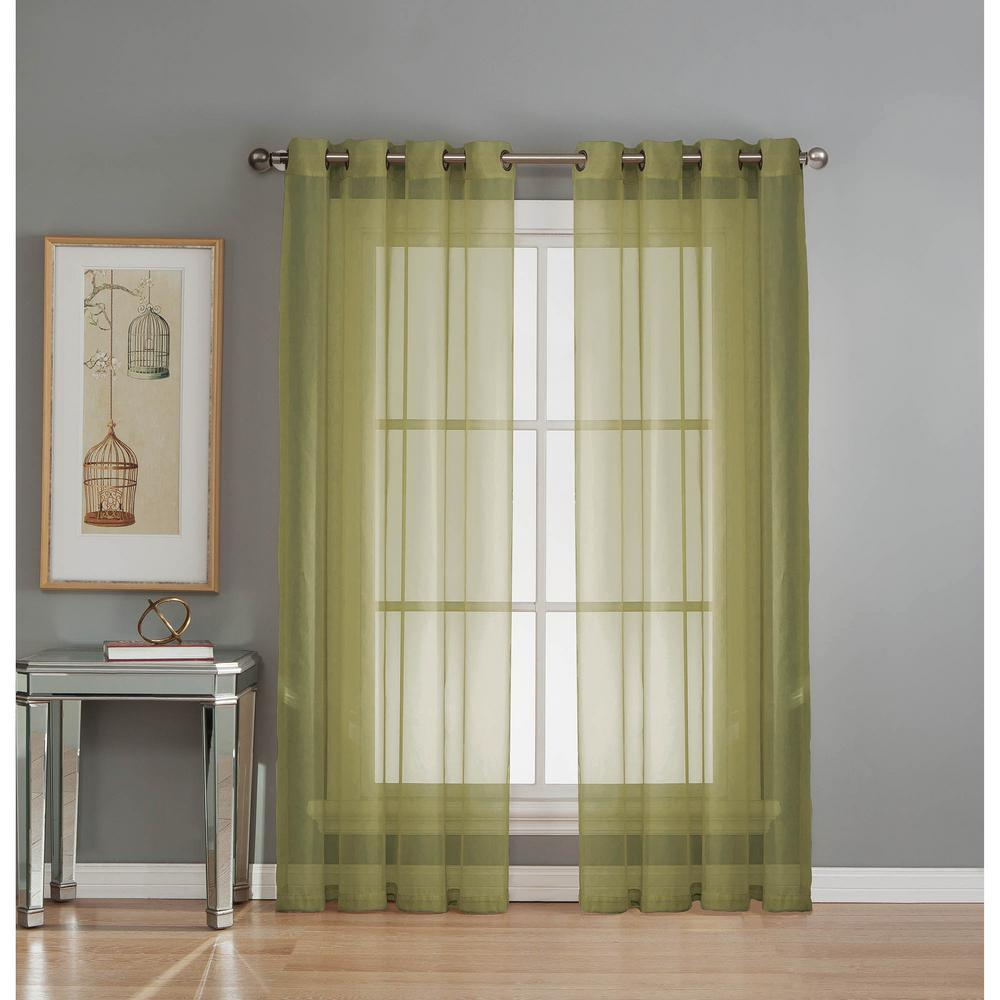 Window Elements Sheer Diamond Sheer Voile Sage Grommet Extra Wide Curtain Panel 56 In W X 90