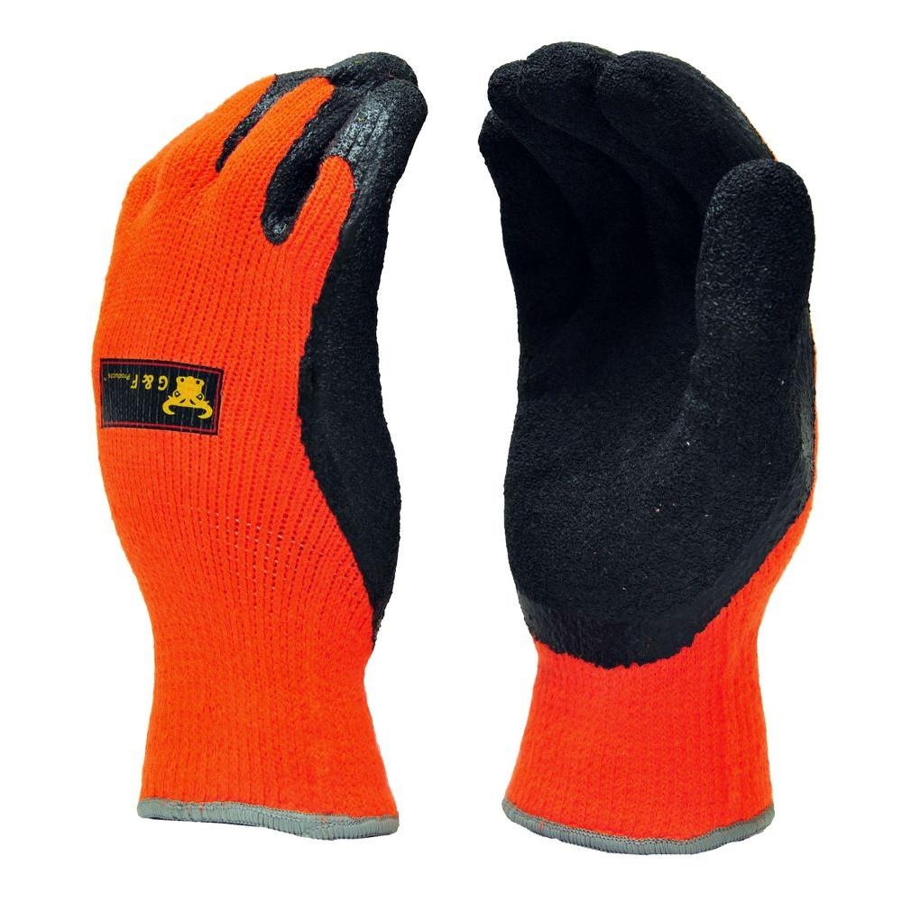 G & F Products Winter Grip Large Master Heavy Textured High Visibility Latex Coated Gloves