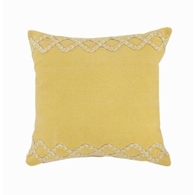 Solid Color Yellow / Cream Chevron Edge Cozy Poly-Fill 20 in. x 20 in.Throw Pillow