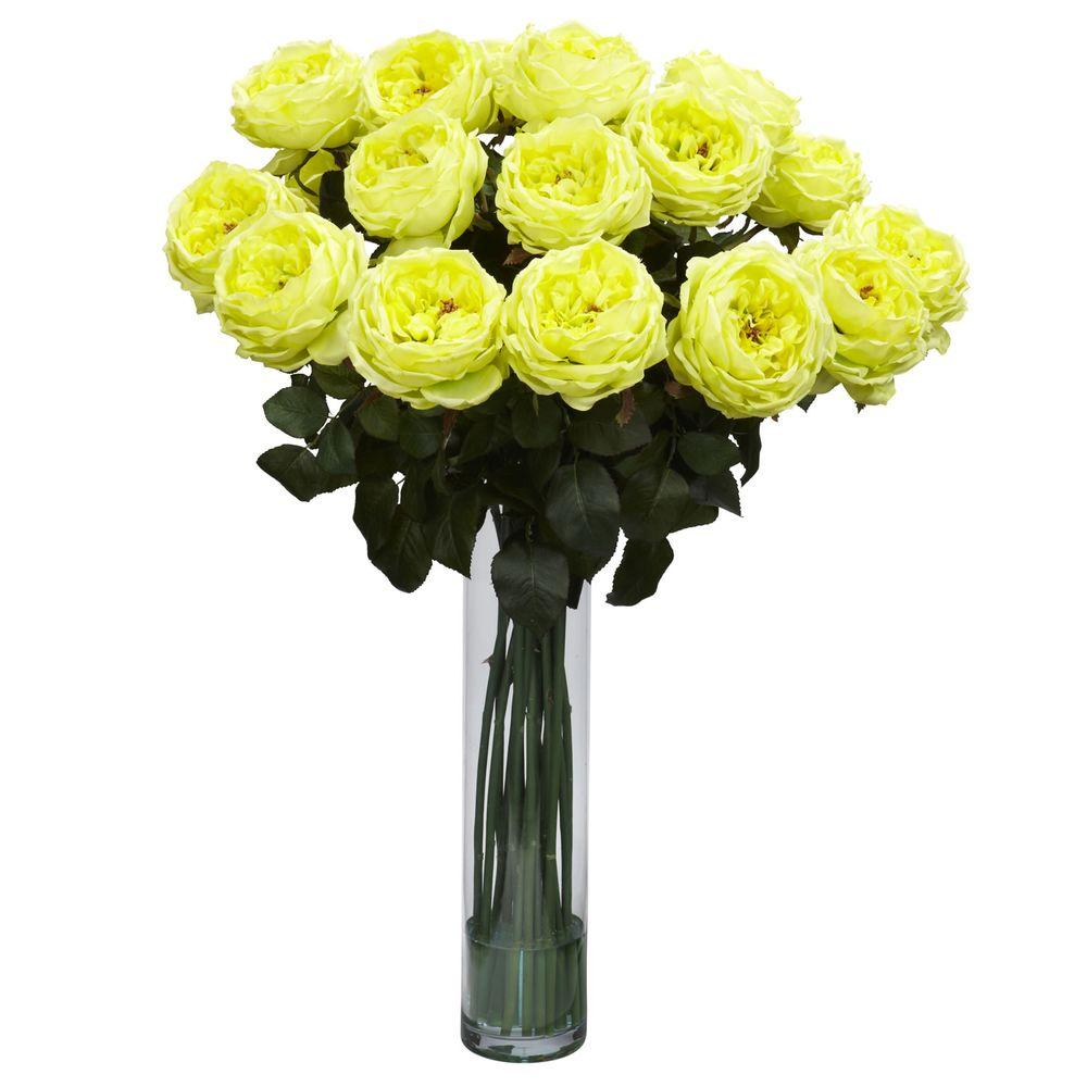 31 In H Yellow Fancy Rose Silk Flower Arrangement 1219 Yl The