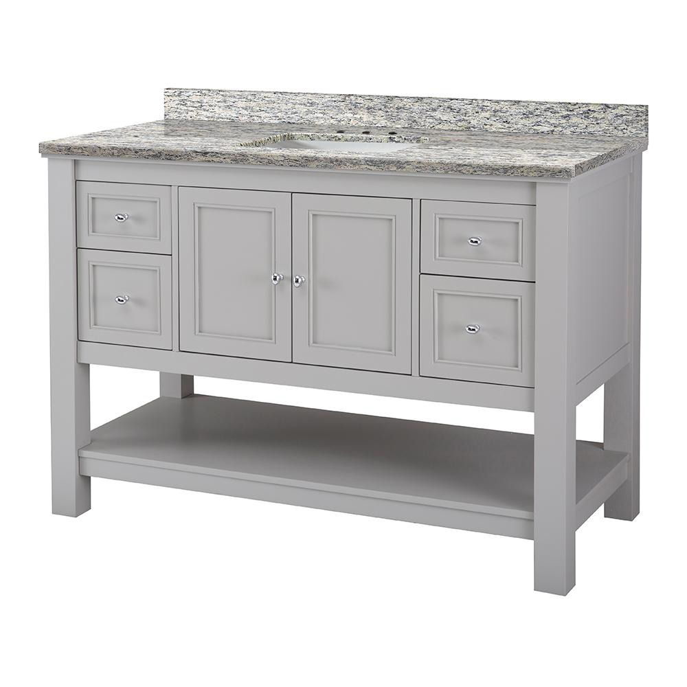 Home Decorators Collection Gazette 49 in. W x 22 in. D Vanity in Grey with Granite Vanity Top in Santa Cecilia with White Sink