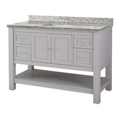 Gazette 49 in. W x 22 in. D Vanity in Grey with Granite Vanity Top in Santa Cecilia with White Sink