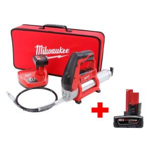 Milwaukee M12 12-Volt Lithium-Ion Cordless Grease Gun XC Kit with Free M12 4.0Ah Battery by Milwaukee