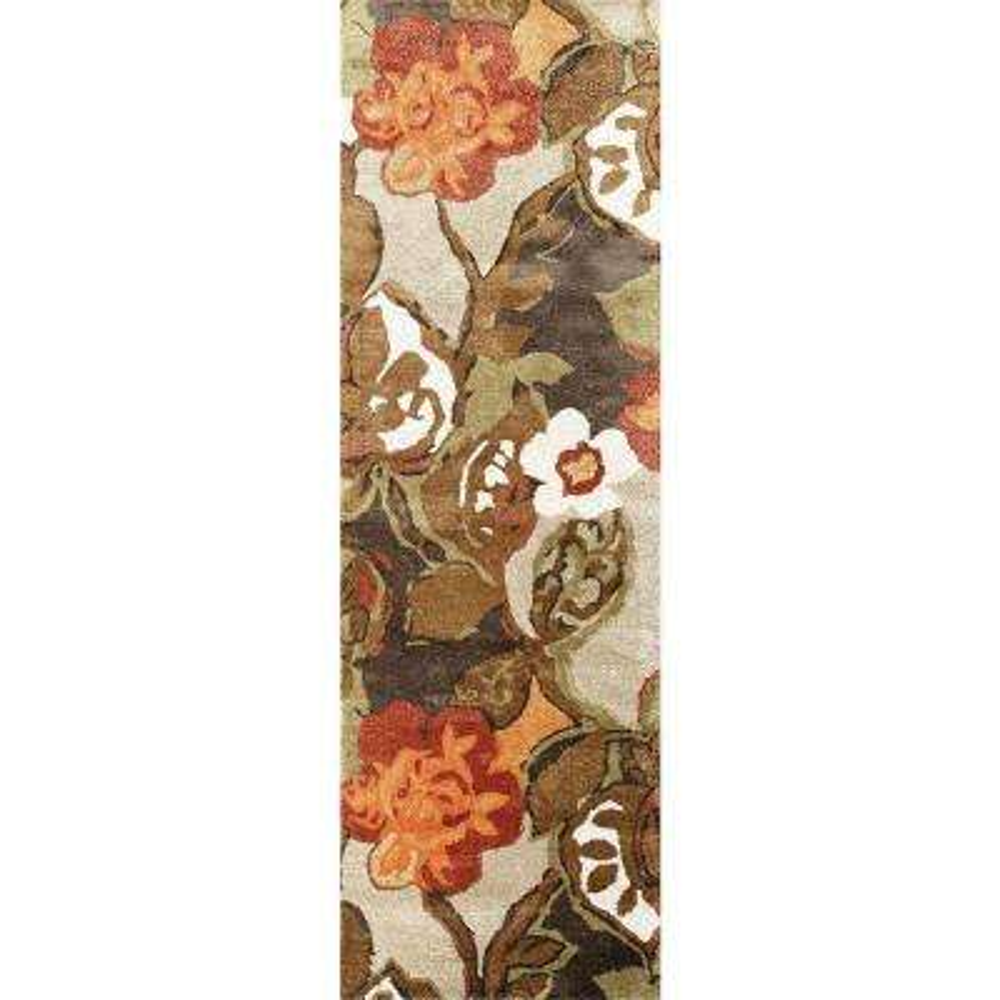 Hand Tufted White Ice 3 ft. x 12 ft. Floral Runner Rug