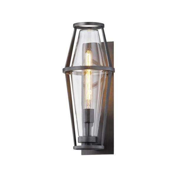 Prospect 18.75 in. 1-Light Graphite Wall Sconce with Clear Glass Shade