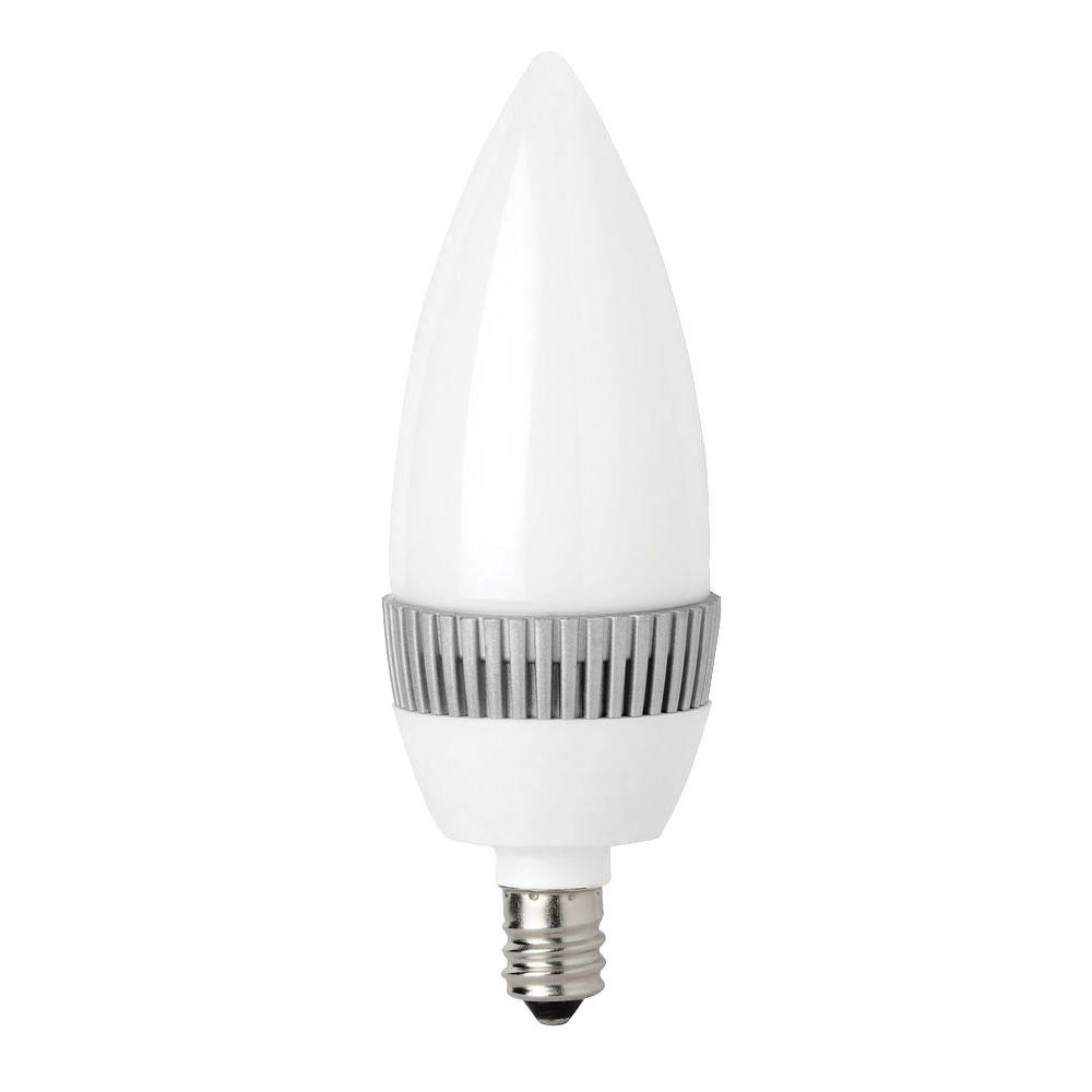 TCP 20W Equivalent Bright White (3000K) B10 Frosted Blunt Tip Deco Dimmable LED Light Bulb (2-Pack)