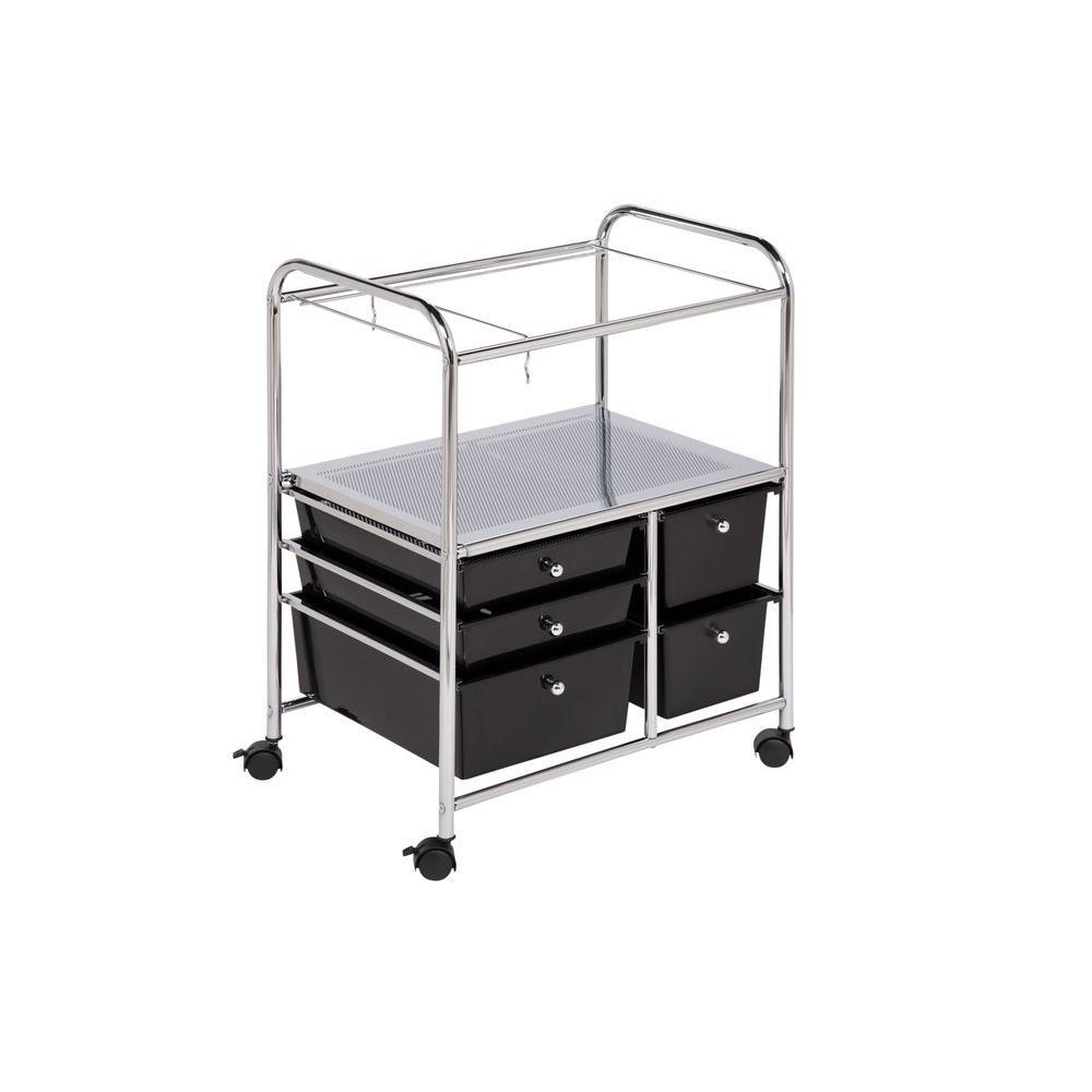 5-Drawer Filing Cart, Chrome & Black