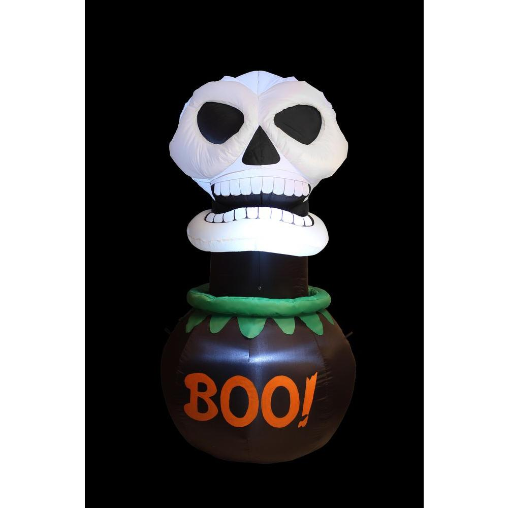 null 6 ft. Inflatable Animated Skull in Cauldron