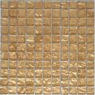 12 in. X 12 in. x 8 mm Tile Esque Champagne Shimmer Metallic Glass Mesh-Mounted Mosaic Tile