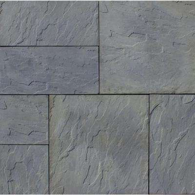 Patio-on-a-Pallet 120 in. x 120 in. Gray Variegated Basket-Weave York-Stone Concrete Paver (Pallet of 37-Pieces)