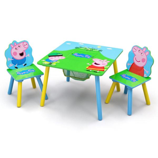 Entertainment One Peppa Pig 3-Piece Multi-Color Table and Chair Set with