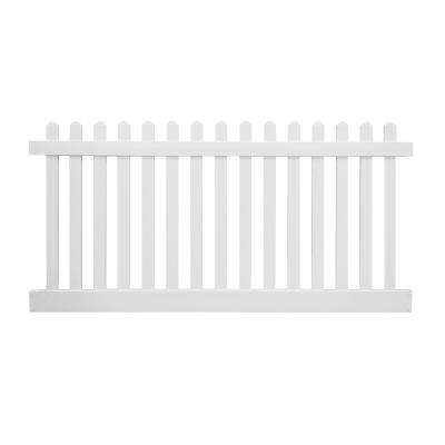 Plymouth 3 ft. H x 8 ft. W White Vinyl Picket Fence Panel Kit