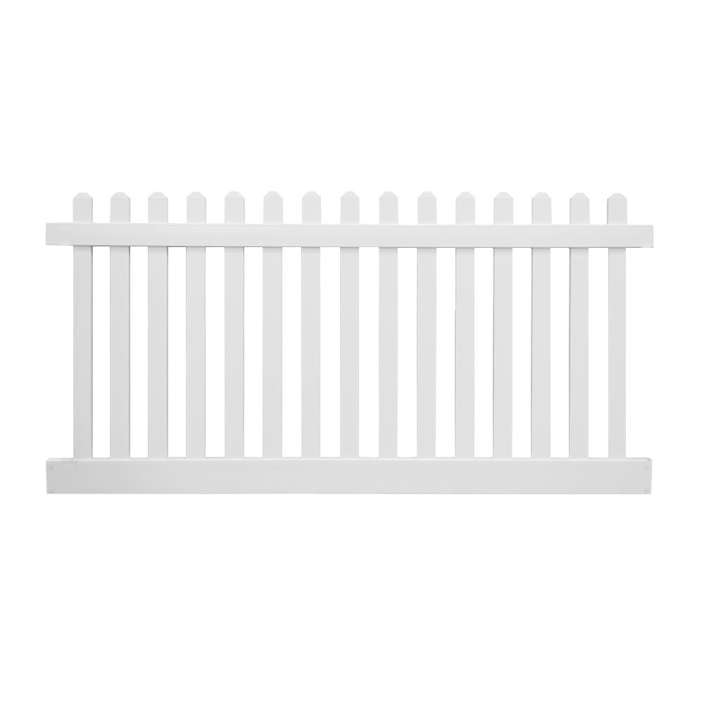 Weatherables Weatherables Plymouth 4 ft. H x 8 ft. W White Vinyl Picket Fence Panel Kit