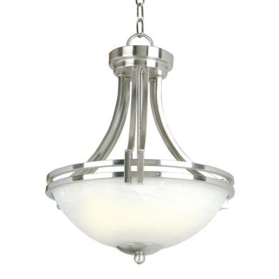 Sequoia Collection 3-Light Satin Nickel Pendant with Frosted Alabaster Glass Shade