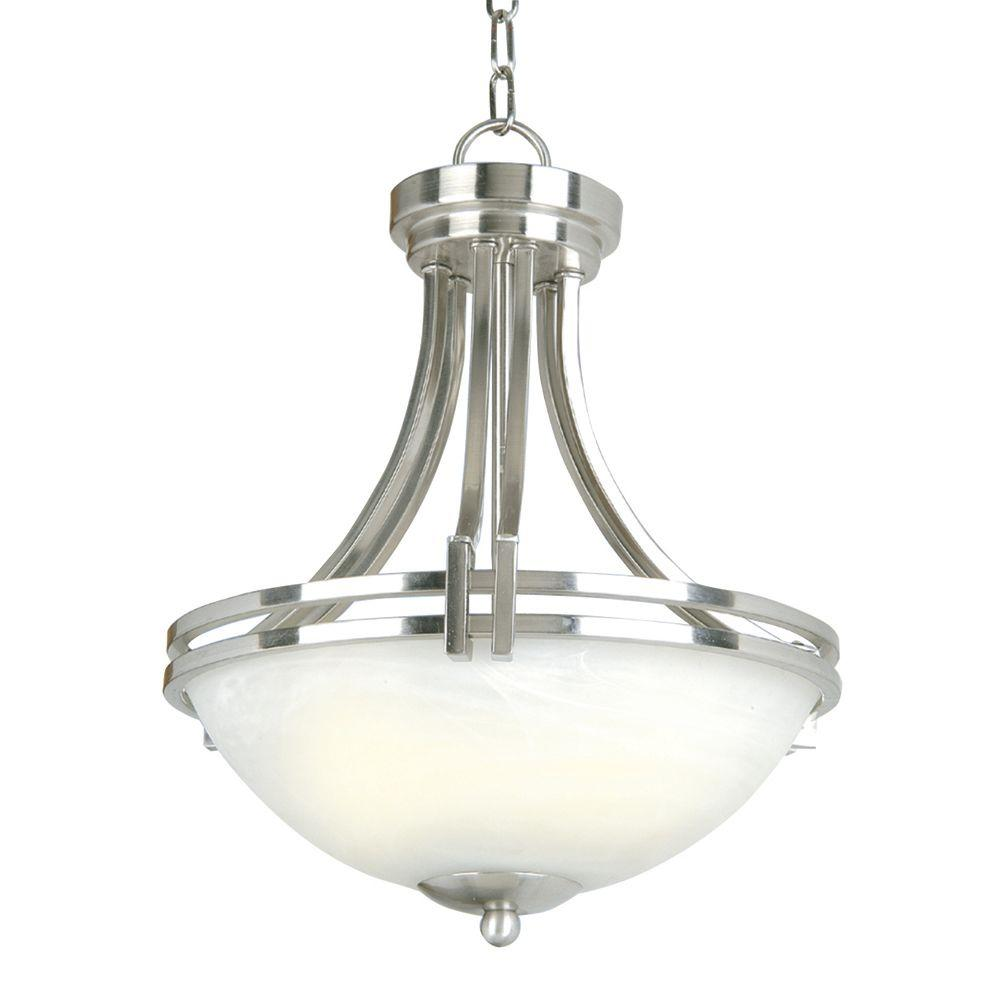 Yosemite Home Decor Sequoia Collection 3 Light Satin Nickel Pendant With Frosted Alabaster Glass