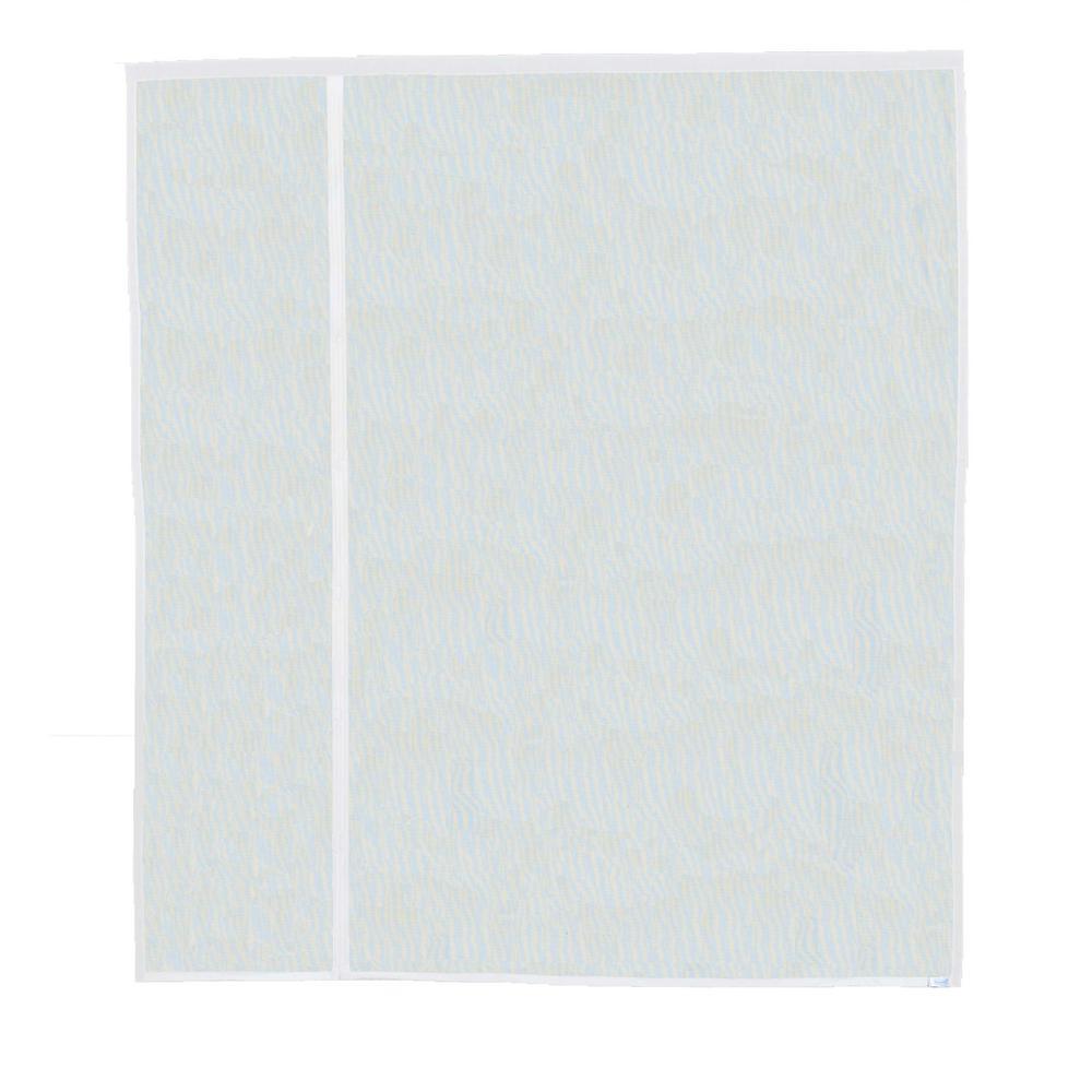 72 in. x 80 in. Black Fiberglass White Trim Magnetic Offset Opening Screen Door