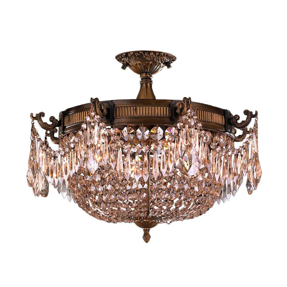 Worldwide Lighting Winchester Collection 3 Light Antique Bronze And Golden Teak Crystal Semi Flush