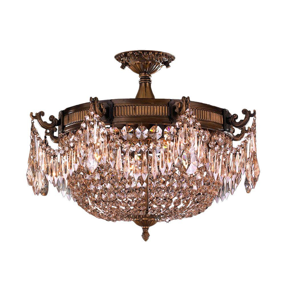 Worldwide Lighting Winchester Collection 3 Light Antique Bronze And Golden Teak Crystal Semi Flush Mount