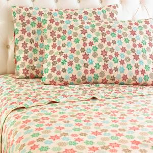 Micro Flannel 4-Piece Snowflake Full Polyester Sheet Set by Micro Flannel