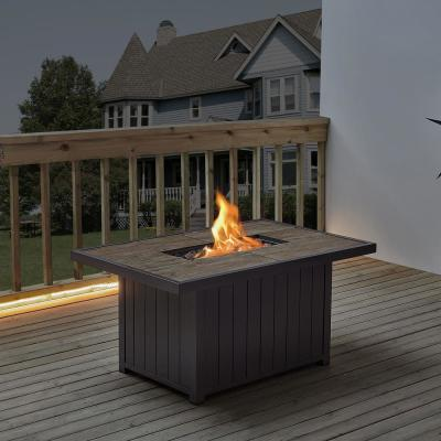 Belize 51 in. W x 25 in. H Rectangle Aluminum Liquid Propane Fire Pit in Dark Brown