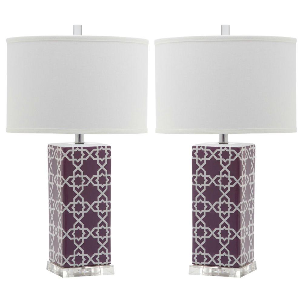 Safavieh quatrefoil 27 in light purple table lamp set of 2 light purple table lamp set of 2 geotapseo Gallery