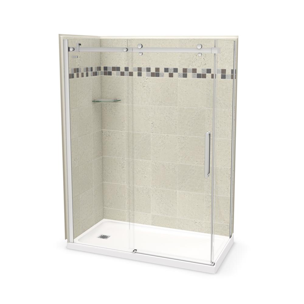 Utile By MAAX 32 In. X 60 In. X 83.5 In. Corner Shower Kit In Stone Sahara  With Left Hand Drain And Chrome Door 106321 000 001 101   The Home Depot
