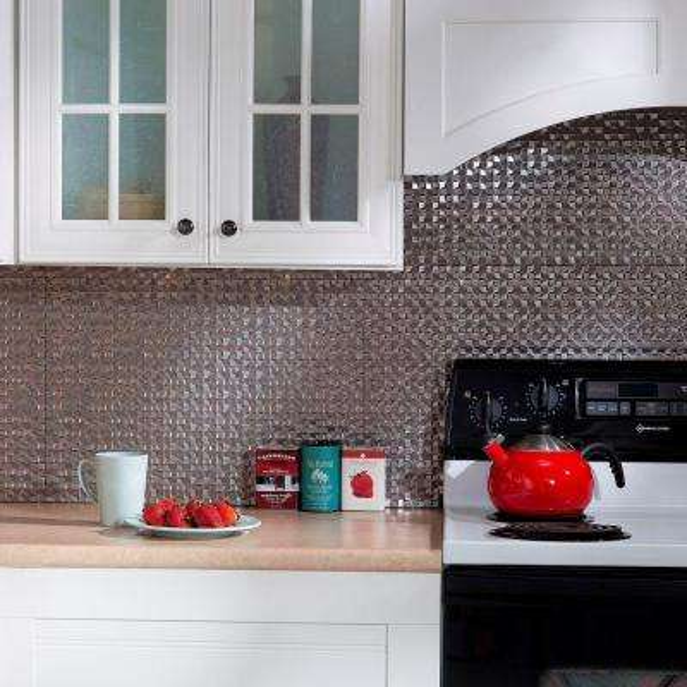 Terrain PVC Decorative Tile Backsplash In Galvanized Steel
