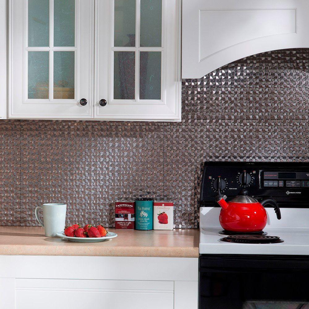 24 In. X 18 In. Terrain PVC Decorative Tile Backsplash In Galvanized Steel