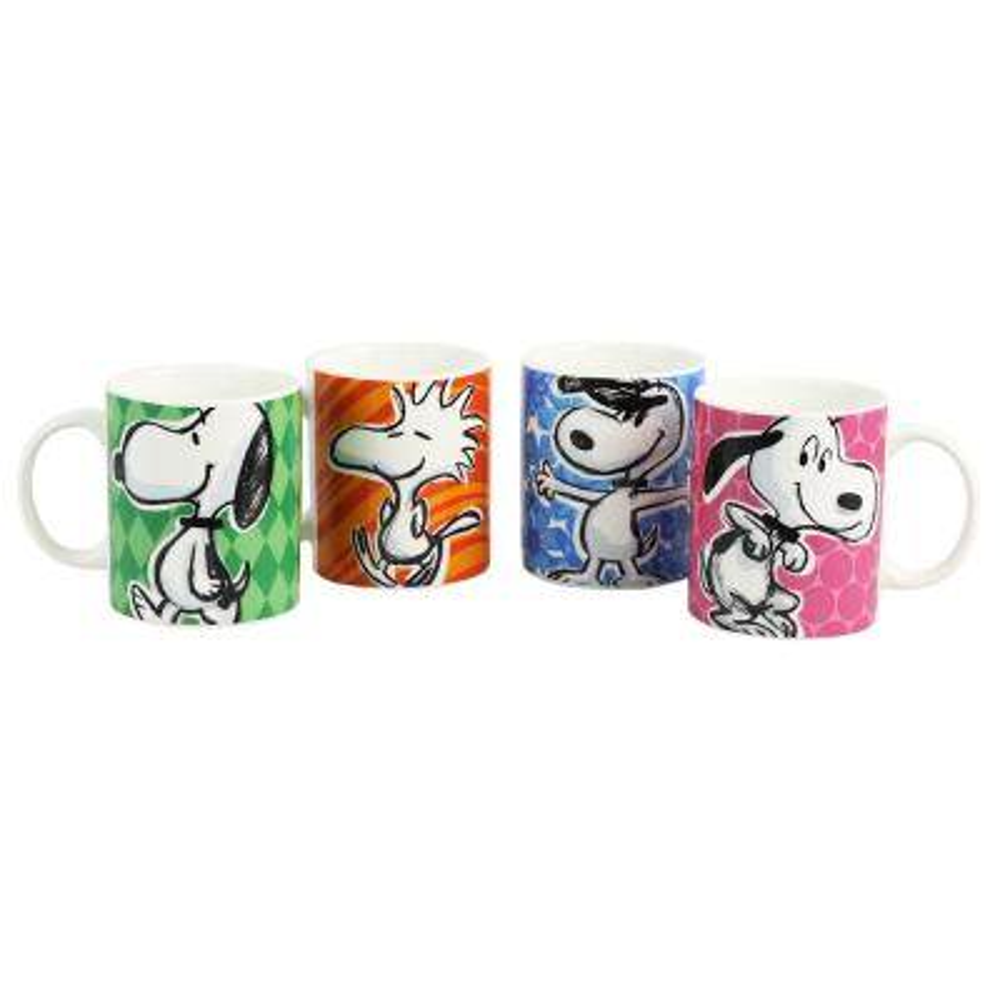 Festive Sketch 15 oz. Assorted Color Mugs (Set of 4)