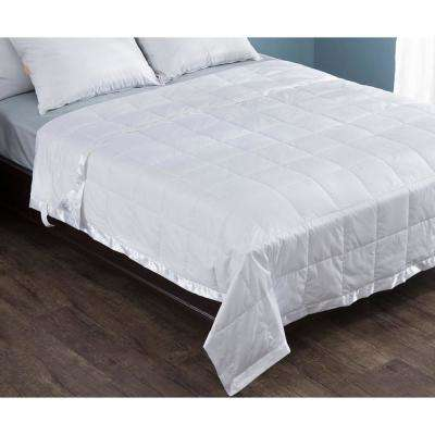 White Twin 100% Cotton Quilted Down Filled Blanket
