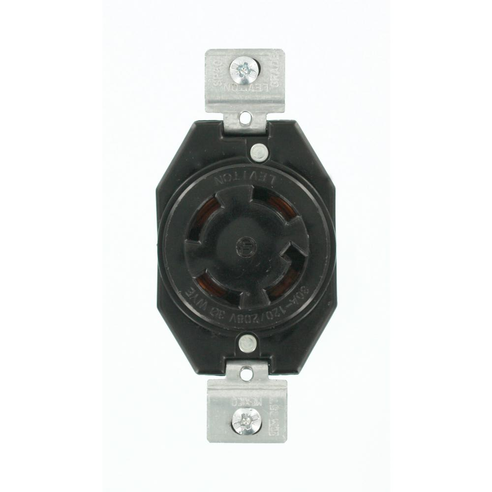 30 Amp 120/208-Volt 3-Phase Flush Mounting Non-Grounding Locking Outlet, Black