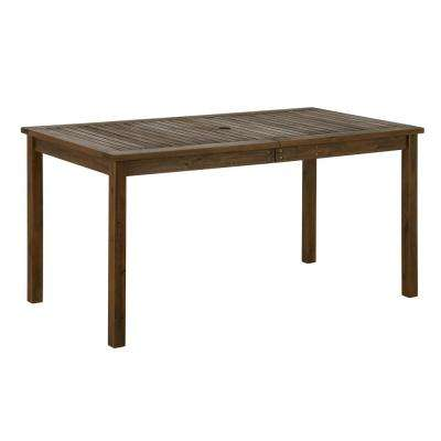 Dark Brown Rectangle Acacia Wood Outdoor Dining Table