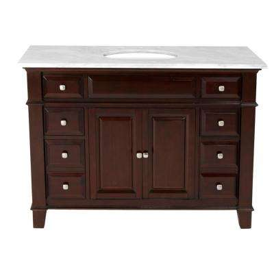 48 in. W x 23 in. D Solid Hardwood Single Vanity in Espresso with Solid Marble Top in Sierra White