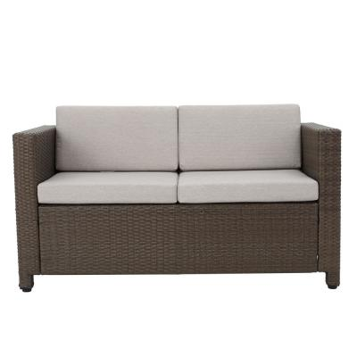 Puerta Brown Wicker Outdoor Loveseat with Ceramic Gray Cushions