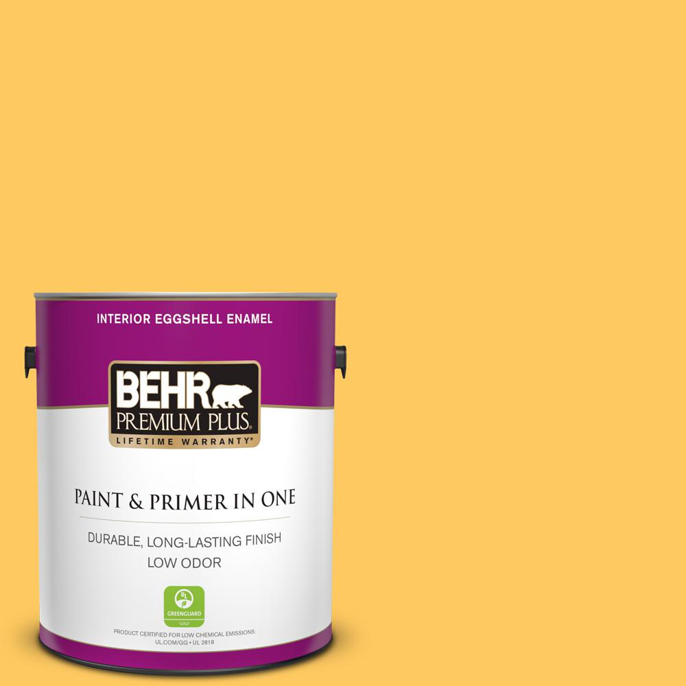 BEHR Premium Plus 1 gal. #P260-6 Smiley Face Eggshell Enamel Low Odor Interior Paint and Primer in One For tough, all-purpose paint with a touch of style, choose BEHR PREMIUM PLUS Low Odor, Paint & Primer in One Eggshell Enamel Interior paint. This soft, subtle sheen resists dirt and grime, so it's perfect for all of your home's busiest rooms. The soft, velvety, reflective appearance will also brighten up your hallways. Color: Smiley Face.