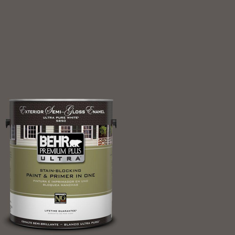 BEHR Premium Plus Ultra 1-Gal. #UL260-2 Intellectual Semi-Gloss Enamel Exterior Paint
