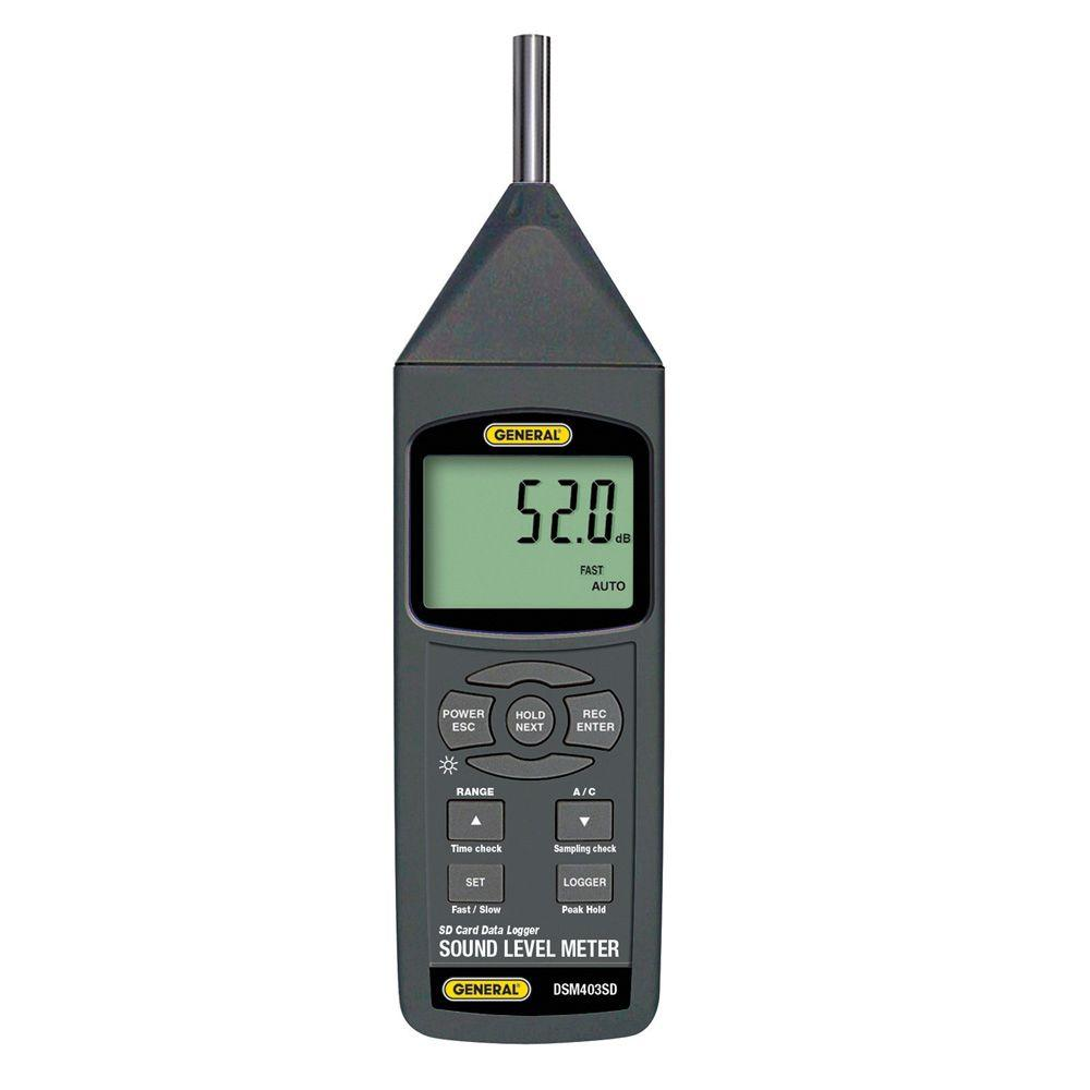 General Tools Sound Meter with SD Card General Tools has grown to become the recognized industry leader for specialty hand tools and instruments. General Tools DSM403SD Sound Meter with SD Card accurately measures sound levels of machinery or an environment with 0.1 dB resolution. This sound meter with SD card's unique feature is its patented technique for storing sampled data in Excel format on removable SD memory cards.