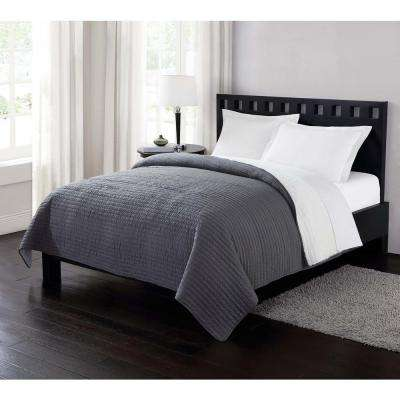 Garment Washed Crinkle and Sherpa Gray King Blanket