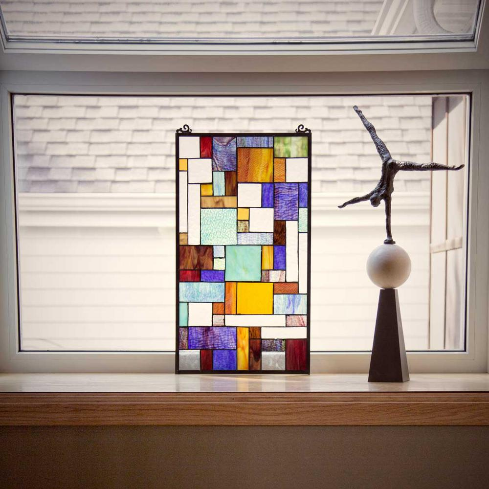 River of goods multi stained glass mod collage window panel