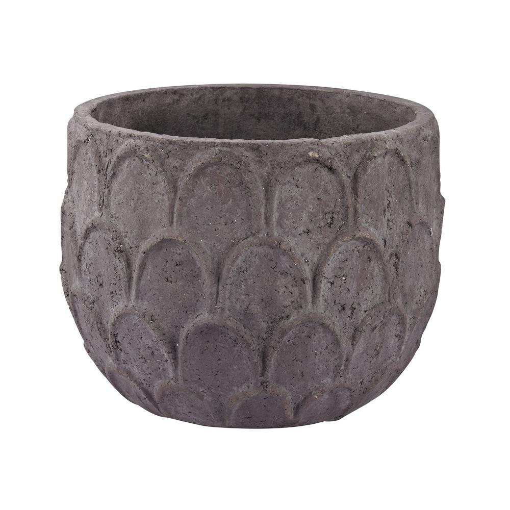 Powdered Lotus Petal 14 in. Earthenware Decorative Vase in Dark Gray