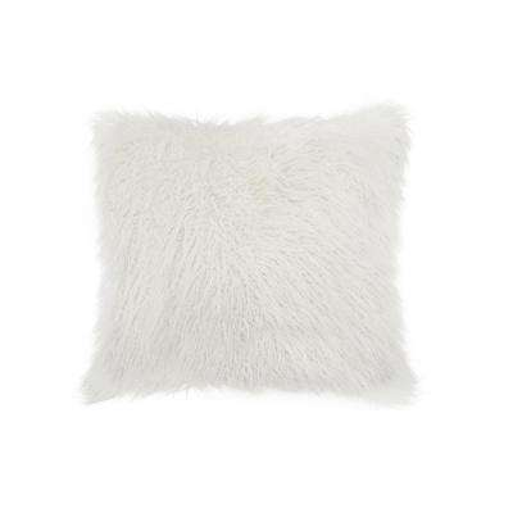 Frisco Mongolian Stone White 20 in. x 20 in. Faux Sheepskin Fur Pillow