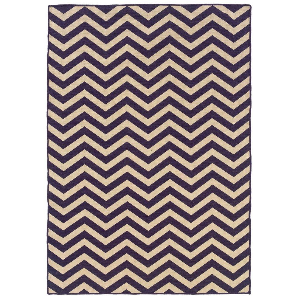 Linon Home Decor Salonika Chevron Purple 5 ft. x 8 ft. Area Rug