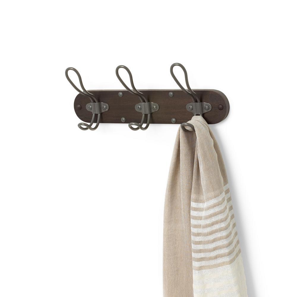 Millbrook Wall Mount Coffee/Industrial Gray 3-Hook Wood Coat Rack
