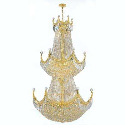 Empire Collection 36-Light Polished Gold and Crystal Chandelier