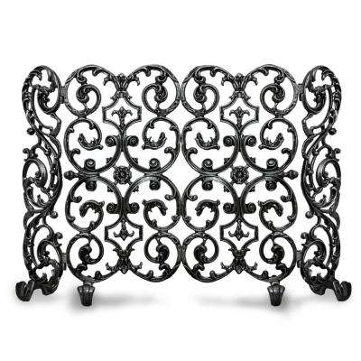 Avalon Matte Black 2-Panel 46 in. W Fireplace Screen with Sides
