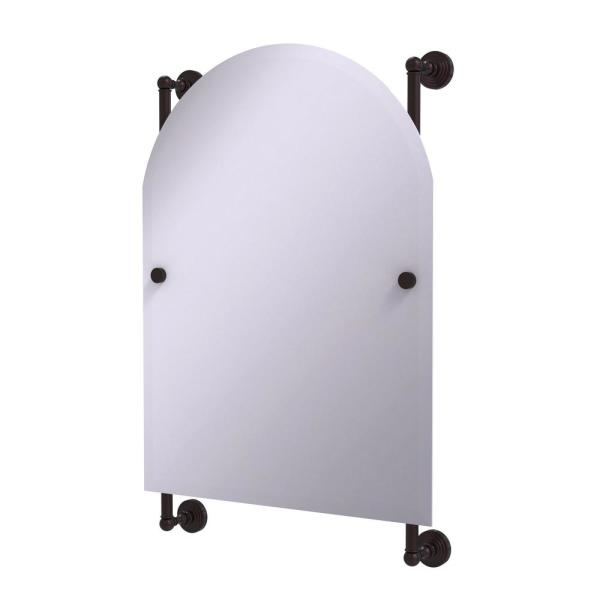Waverly Place Collection 21 in. x 32 in. Arched Top Frameless Rail Mounted Mirror in Antique Bronze