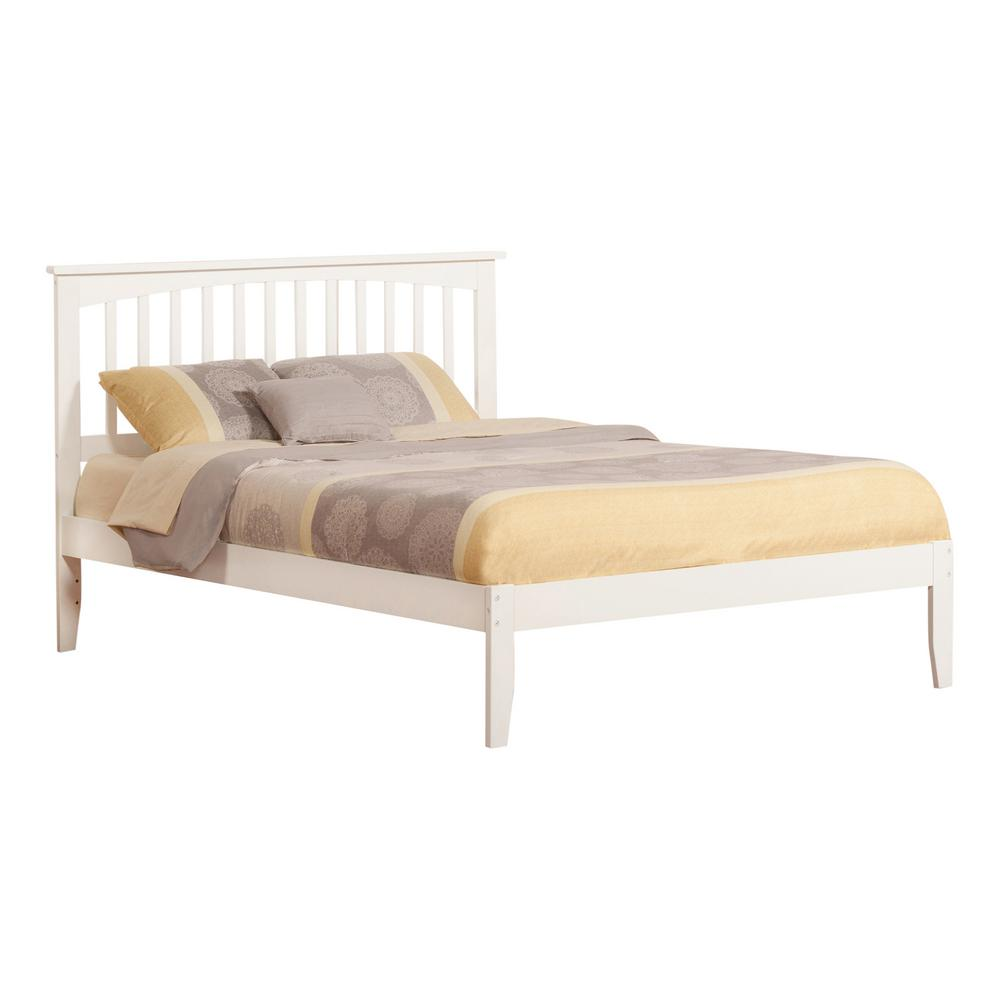 Mission White Queen Platform Bed with Open Foot Board